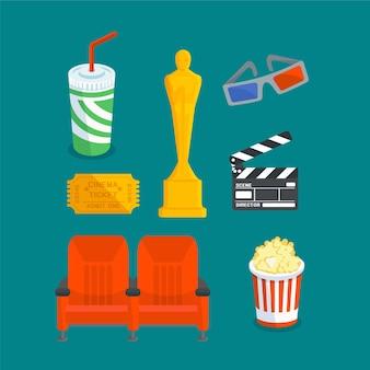 Set van verschillende dingen voor bioscoopentertainment, s