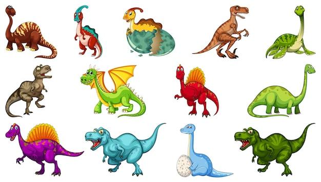 Set van verschillende dinosaurus stripfiguur geïsoleerd op een witte achtergrond