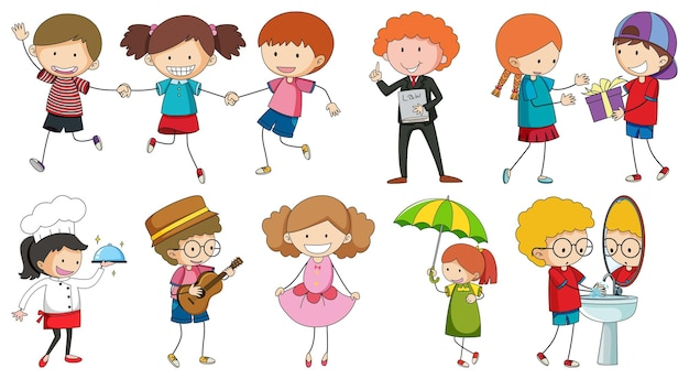 Set van verschillende doodle kinderen stripfiguur