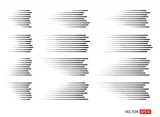 Set van verschillende eenvoudige zwarte snelheidslijnen.