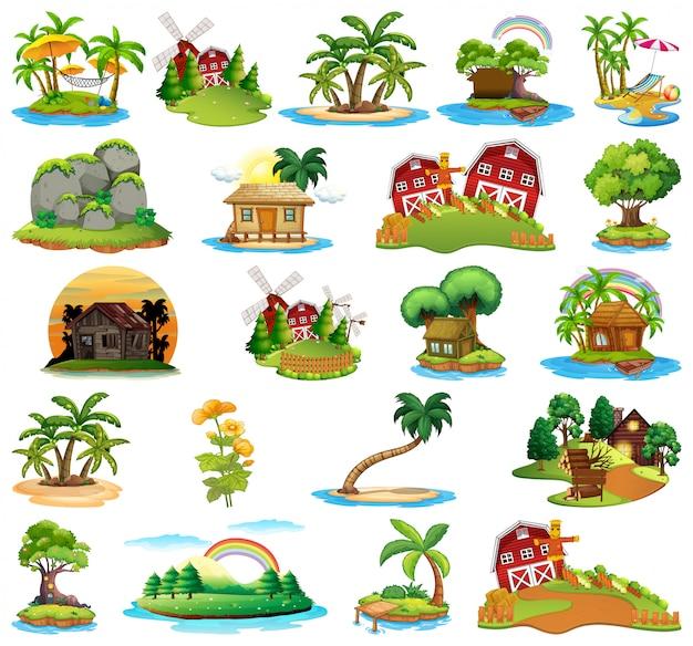 Set van verschillende eilanden