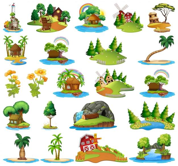 Set van verschillende eilandtaferelen