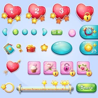 Set van verschillende elementen, voortgangsbalken, boosters, knoppen voor computerspelletjes en webdesign rond het thema valentijnsdag