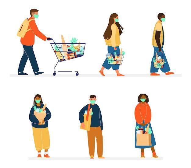 Set van verschillende etniciteit mensen in beschermende maskers boodschappen doen. nieuw normaal concept. ecovriendelijk winkelen met behulp van koordzakken, shoppers. vlakke afbeelding. geïsoleerd op wit.