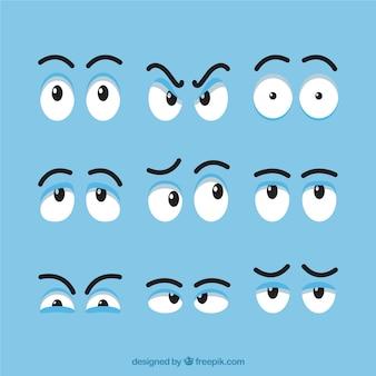 Set van verschillende expressieve ogen voor de cartoon