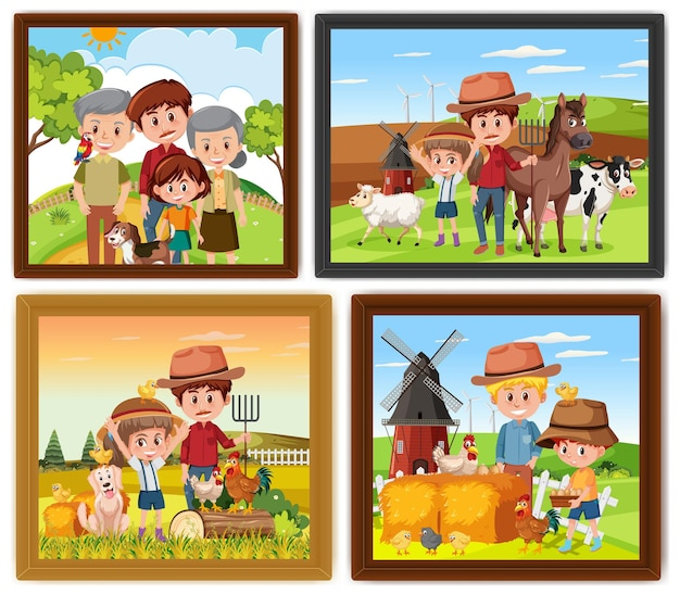 Set van verschillende familie fotolijsten