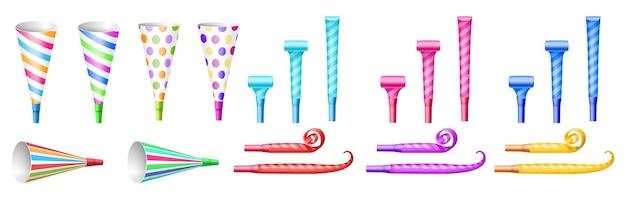 Set van verschillende feestfluitjes: papieren hoorns en pijpblazers. verzameling van kleurrijke items voor feestelijke gebeurtenisviering: nieuwjaar of verjaardag. realistische vectorillustratie