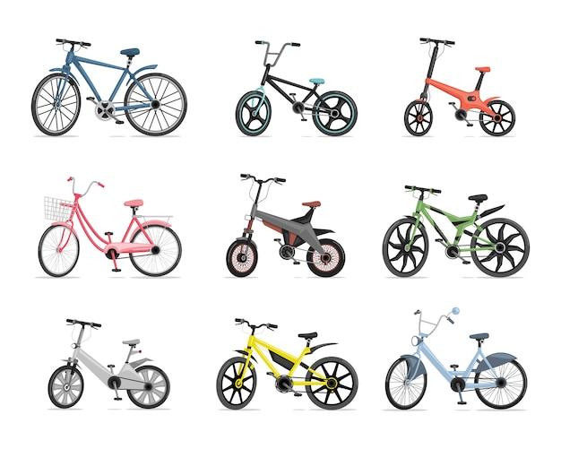 Set van verschillende fietsen. blauwe, rode, roze, groene, grijze en gele fietsen die op witte achtergrond worden geïsoleerd.