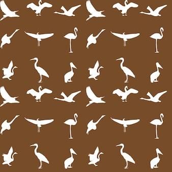 Set van verschillende foto's van vogels naadloos patroon. vector ik