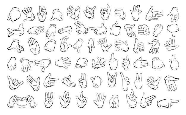 Set van verschillende gebaren van handen in lineaire stijl