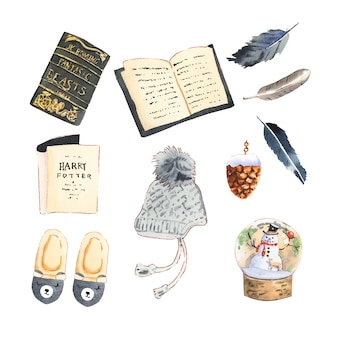 Set van verschillende geïsoleerde winter huis collectie illustratie.