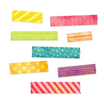 Set van verschillende gekleurde aquarel washi-tapes