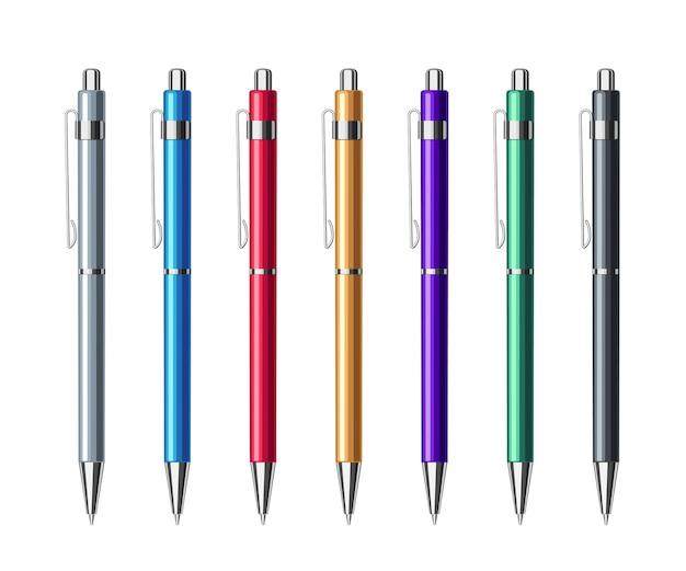 Set van verschillende gekleurde automatische balpennen met veer in metalen etui. collectie van school- of kantoorhulpmiddelen. platte vectorillustratie geïsoleerd op een witte achtergrond