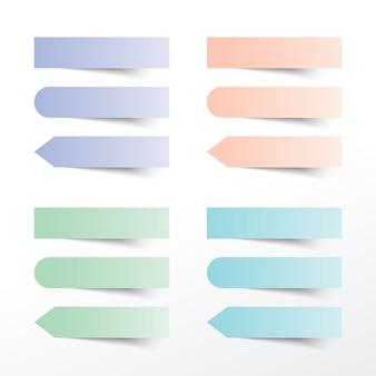 Set van verschillende gekleurde kleverige notities. vectorillustratie.