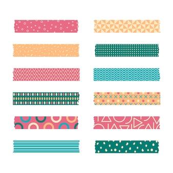 Set van verschillende gekleurde platte washi-tapes