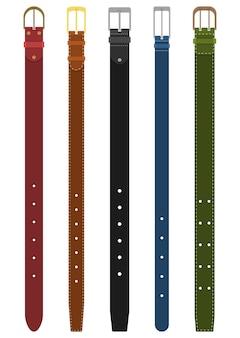 Set van verschillende gekleurde riemen met gespen. element van kledingontwerp. broek met riem in vlakke stijl