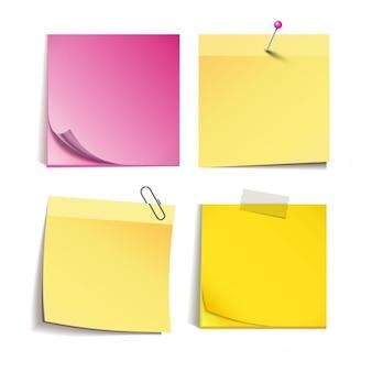 Set van verschillende gekleurde stickers van notevector illustratie geïsoleerd op een witte achtergrond vooraanzicht
