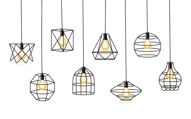 Set van verschillende geometrische loft lampen en ijzeren lampenkap. industriële stijl.