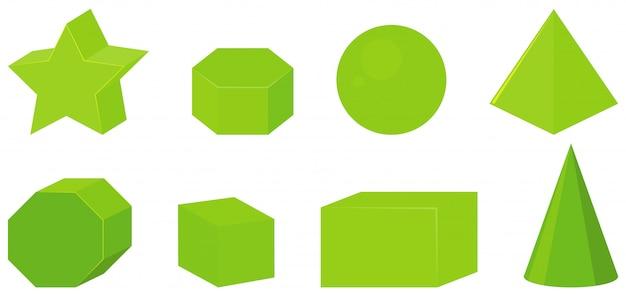 Set van verschillende geometrische vormen in het groen