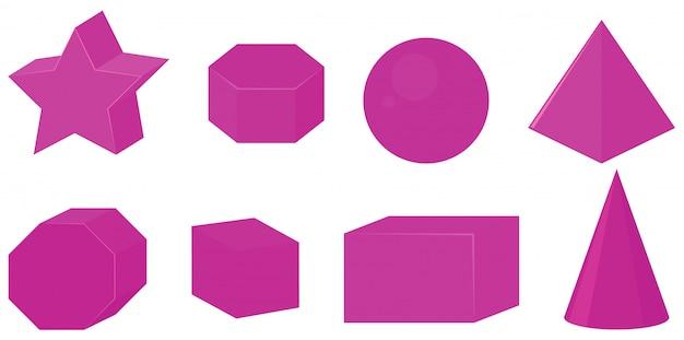 Set van verschillende geometrische vormen in roze