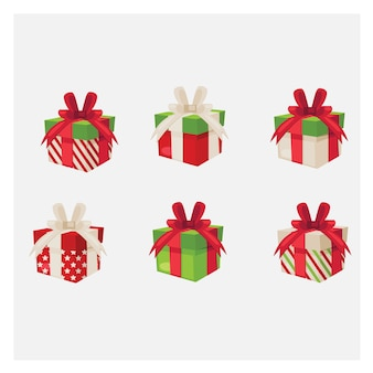 Set van verschillende geschenkdozen. kleurrijke geschenkdoos.
