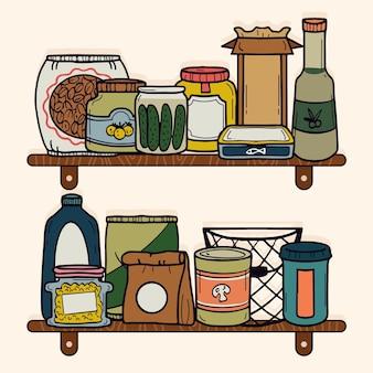 Set van verschillende getekende pantry's