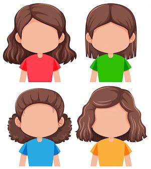 Set van verschillende gezichtsloze meisje