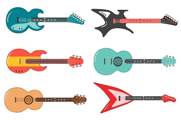 Set van verschillende gitaar. akoestische, elektrische gitaar en ukelele op een witte achtergrond. snaarinstrumenten. collectie muziekinstrumenten. illustratie.