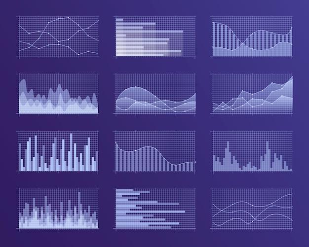 Set van verschillende grafieken en diagrammen.