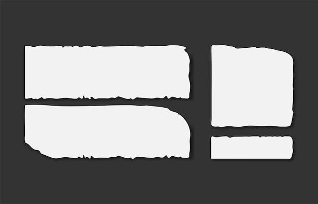 Set van verschillende grijze gescheurde notitieblaadjes met plakband.