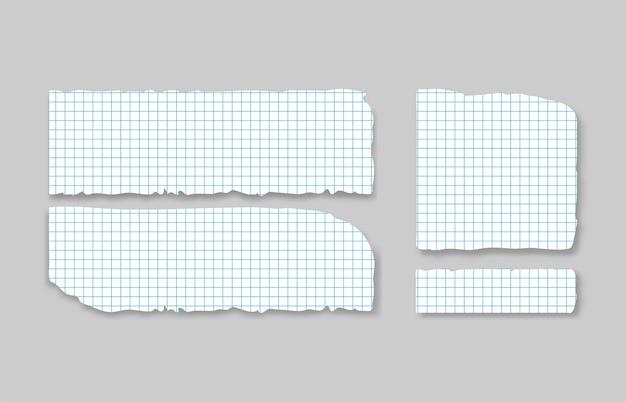 Set van verschillende grijze vierkante gescheurde notitieblaadjes met plakband.