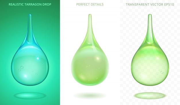 Set van verschillende groene druppels. realistische vallende druppels dragon frisdrank, aloë-sap en limoensapcocktail. perfect vloeibare objecten met een andere transparantie.