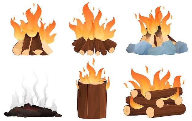 Set van verschillende haarden. vreugdevuur in de campagne, verschillende manieren om een vuur aan te steken.