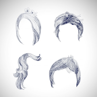 Set van verschillende haren en kapsel tekening schets