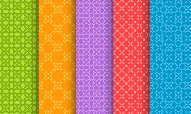 Set van verschillende heldere naadloze patronen
