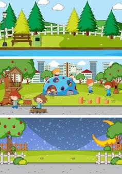 Set van verschillende horizon scènes achtergrond met doodle kids stripfiguur