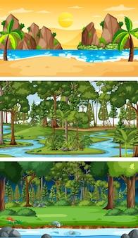 Set van verschillende horizontale bosscènes in verschillende seizoenen