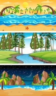 Set van verschillende horizontale bosscènes in verschillende tijden