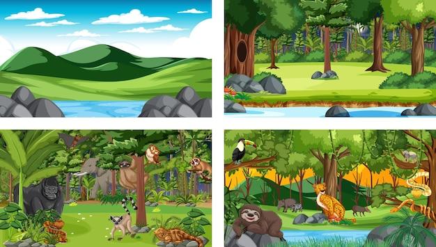 Set van verschillende horizontale bosscènes met verschillende wilde dieren