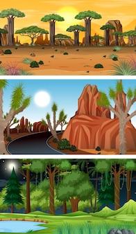 Set van verschillende horizontale bosscènes