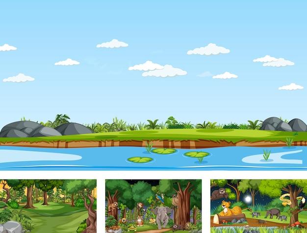 Set van verschillende horizontale natuurscènes met verschillende wilde dieren
