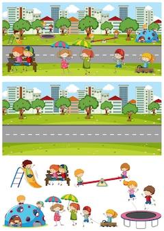Set van verschillende horizontale parkscènes met doodle kinder stripfiguur