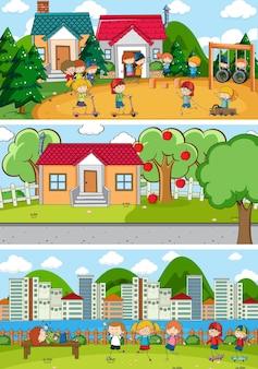 Set van verschillende horizontale scènes achtergrond met doodle kinderen stripfiguur