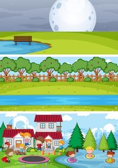 Set van verschillende horizontale scènes met doodle kids stripfiguur