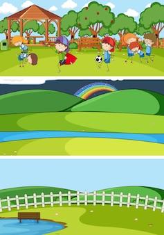 Set van verschillende horizontale scènes met doodle kids stripfiguur Gratis Vector