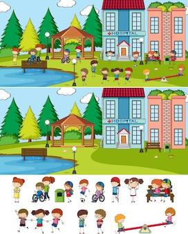 Set van verschillende horizontale scènes met doodle kinderen stripfiguur