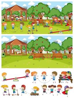 Set van verschillende horizontale speelplaatsscènes met doodle kinder stripfiguur