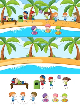 Set van verschillende horizontale strandtaferelen met doodle kids stripfiguur