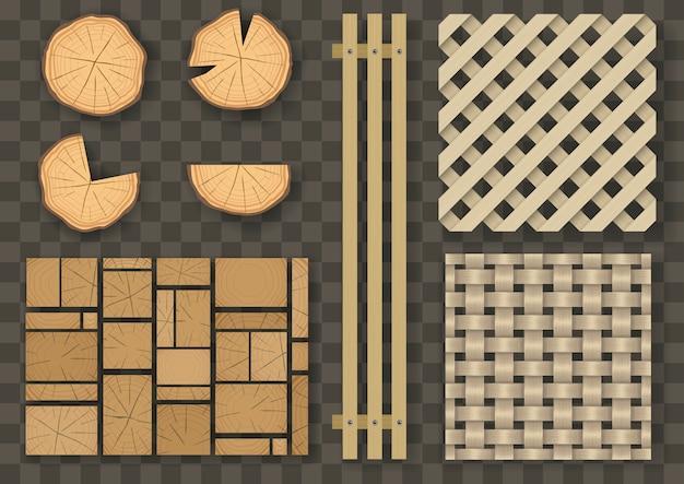 Set van verschillende houten elementen