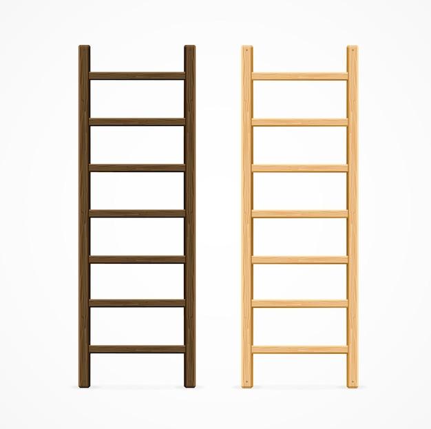 Set van verschillende houten trapladders.